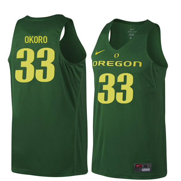 Men #33 Francis Okoro Oregon Ducks College Basketball Jerseys Sale-Dark Green
