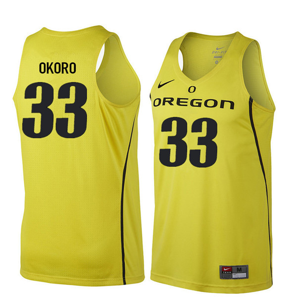 Men #33 Francis Okoro Oregon Ducks College Basketball Jerseys Sale-Yellow