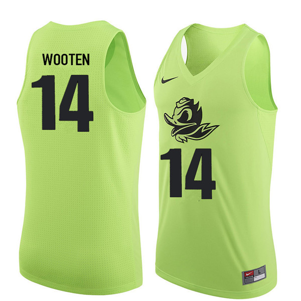 Men #14 Kenny Wooten Oregon Ducks College Basketball Jerseys Sale-Electric Green