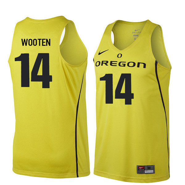 Men #14 Kenny Wooten Oregon Ducks College Basketball Jerseys Sale-Yellow