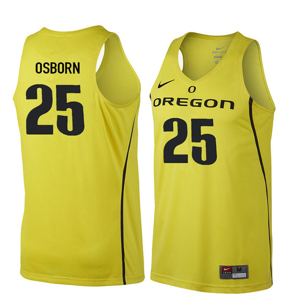 Men #25 Luke Osborn Oregon Ducks College Basketball Jerseys Sale-Yellow