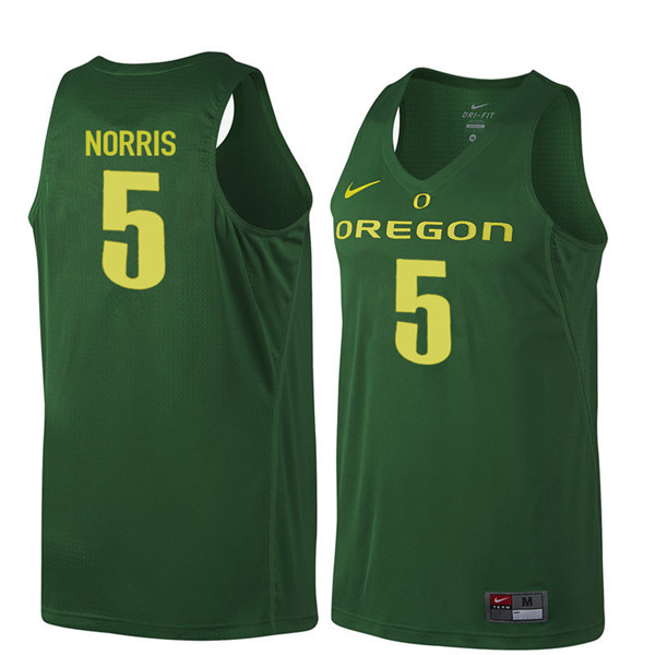 Men #5 Miles Norris Oregon Ducks College Basketball Jerseys Sale-Dark Green