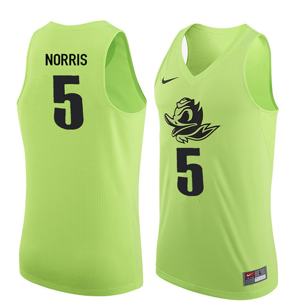 Men #5 Miles Norris Oregon Ducks College Basketball Jerseys Sale-Electric Green