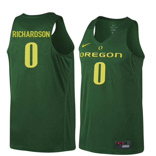Men #0 Will Richardson Oregon Ducks College Basketball Jerseys Sale-Dark Green