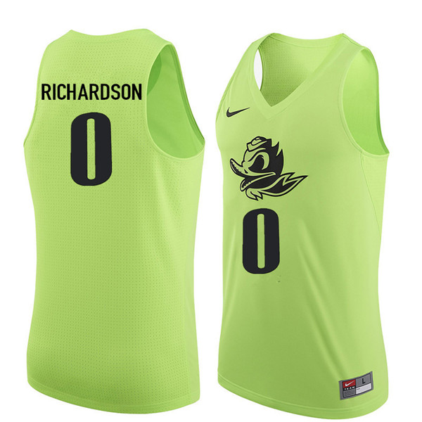 Men #0 Will Richardson Oregon Ducks College Basketball Jerseys Sale-Electric Green