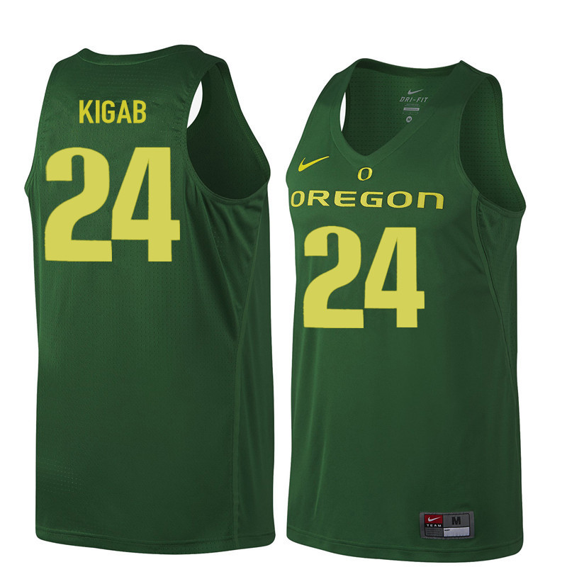 Men #24 Abu Kigab Oregon Ducks College Basketball Jerseys Sale-Dark Green