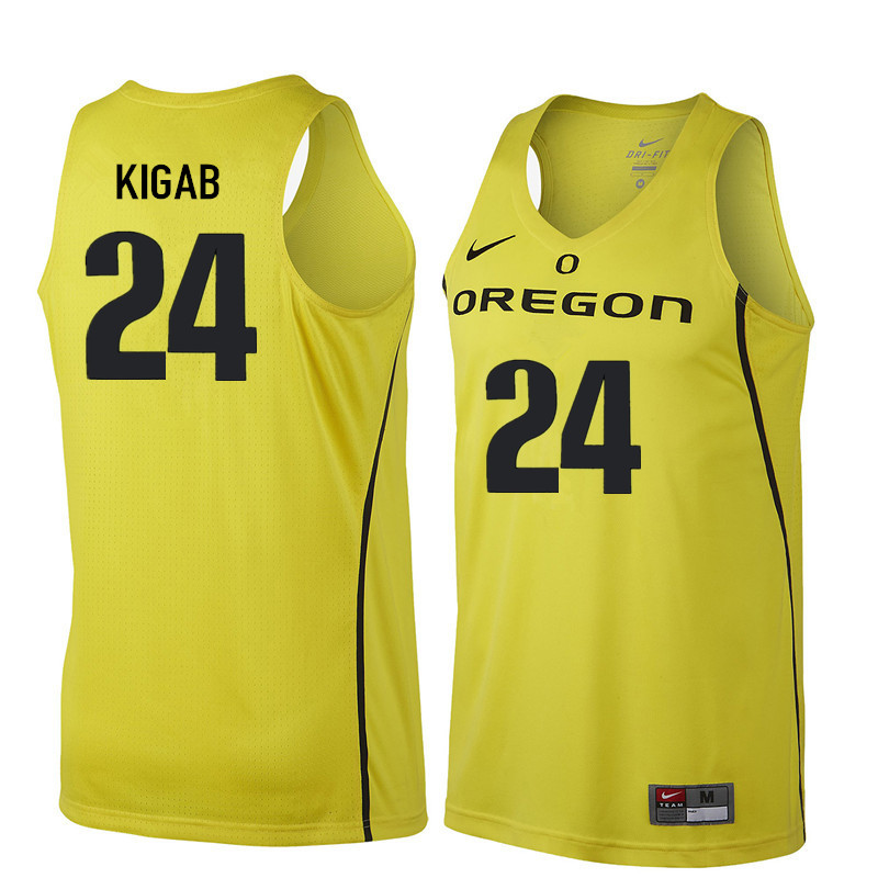 Men #24 Abu Kigab Oregon Ducks College Basketball Jerseys Sale-Yellow