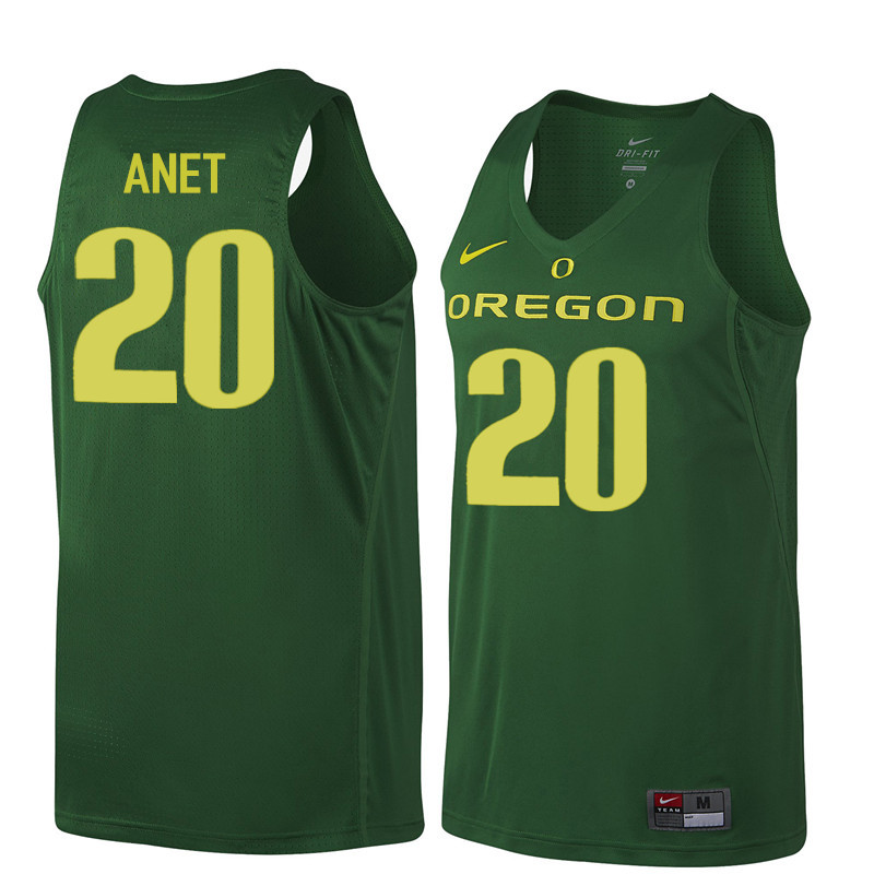 Men Oregon Ducks #20 Bob Anet College Basketball Jerseys Sale-Dark Green
