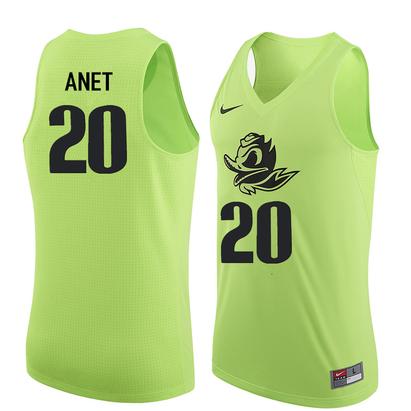 Men Oregon Ducks #20 Bob Anet College Basketball Jerseys Sale-Electric Green
