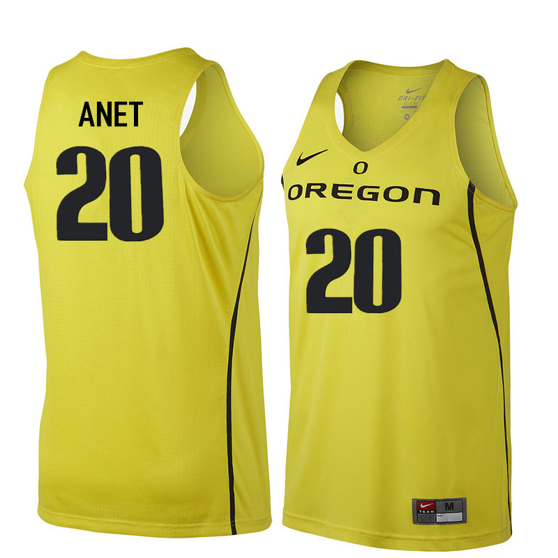 Men Oregon Ducks #20 Bob Anet College Basketball Jerseys Sale-Yellow