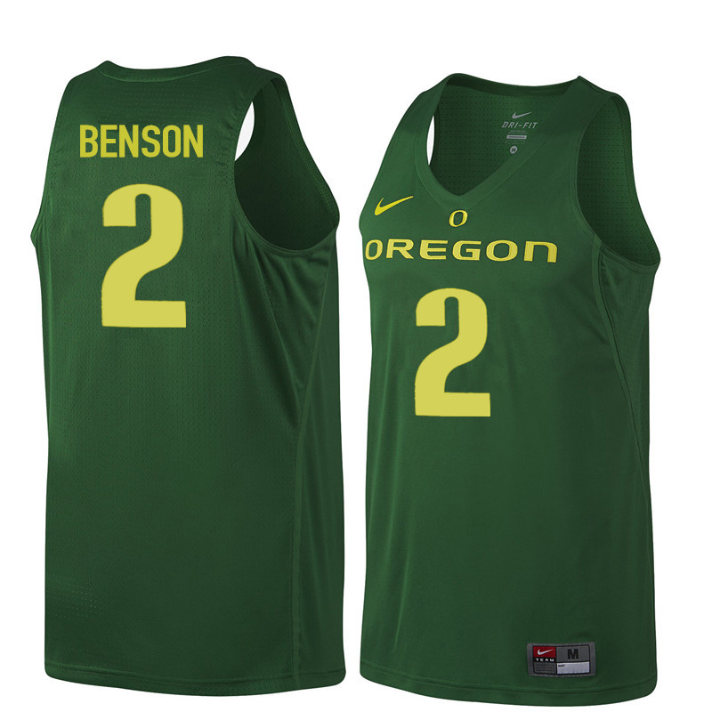 Men Oregon Ducks #2 Casey Benson College Basketball Jerseys Sale-Dark Green