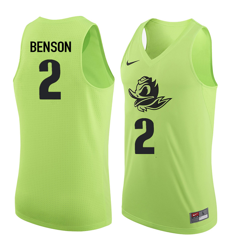 Men Oregon Ducks #2 Casey Benson College Basketball Jerseys Sale-Electric Green