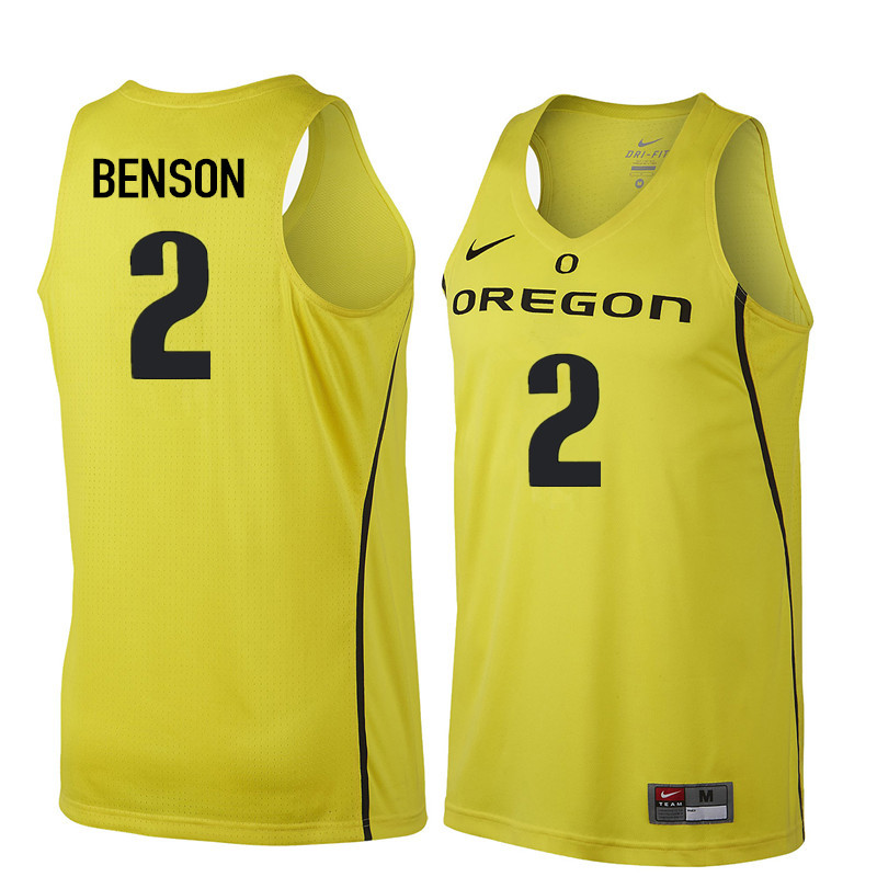 Men Oregon Ducks #2 Casey Benson College Basketball Jerseys Sale-Yellow