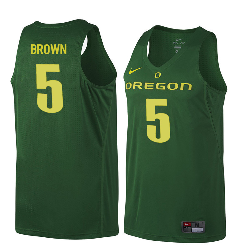 Men #5 Elijah Brown Oregon Ducks College Basketball Jerseys Sale-Dark Green