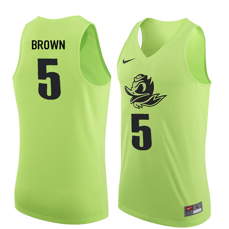 Men #5 Elijah Brown Oregon Ducks College Basketball Jerseys Sale-Electric Green