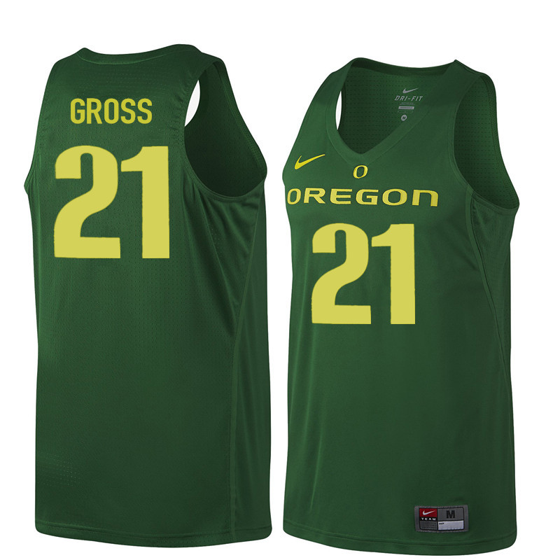 Men Oregon Ducks #21 Evan Gross College Basketball Jerseys Sale-Dark Green