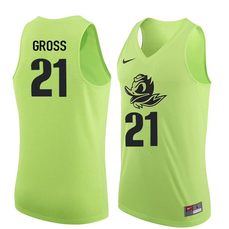 Men Oregon Ducks #21 Evan Gross College Basketball Jerseys Sale-Electric Green