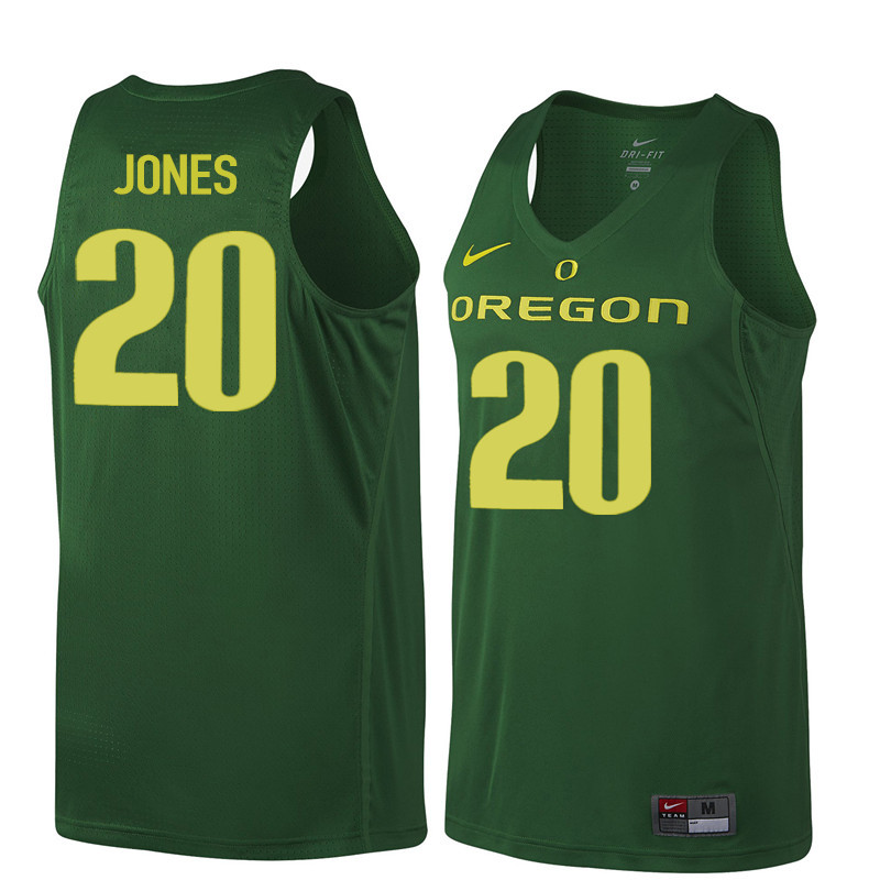 Men Oregon Ducks #20 Fred Jones College Basketball Jerseys Sale-Dark Green