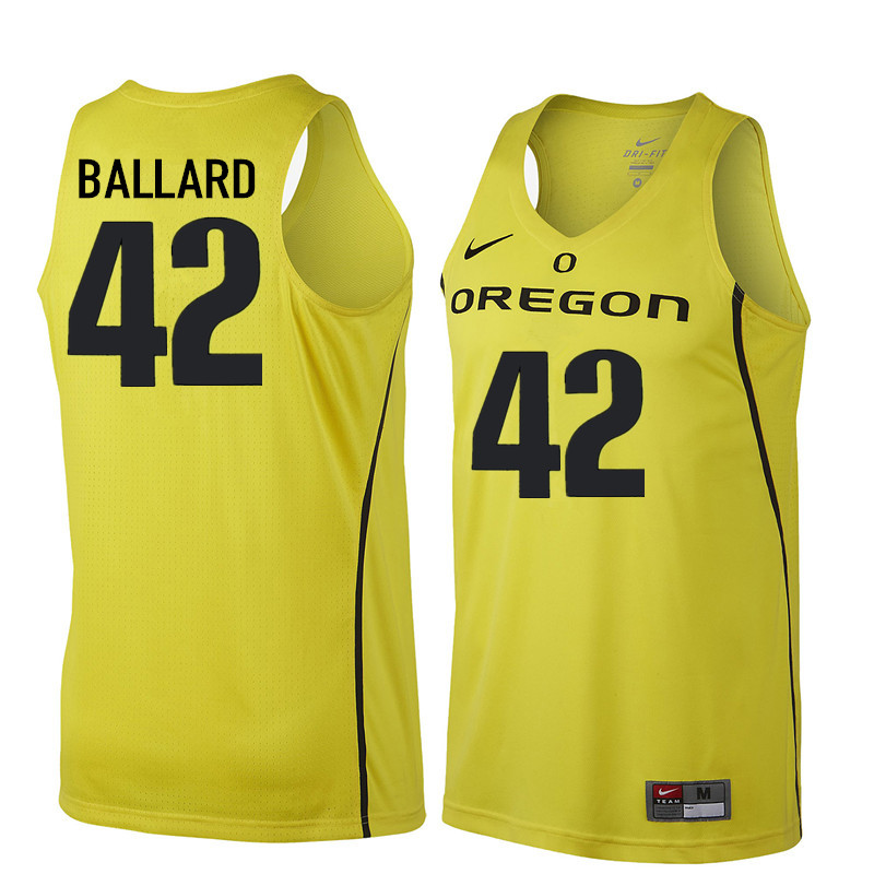 Men Oregon Ducks #42 Greg Ballard College Basketball Jerseys Sale-Yellow