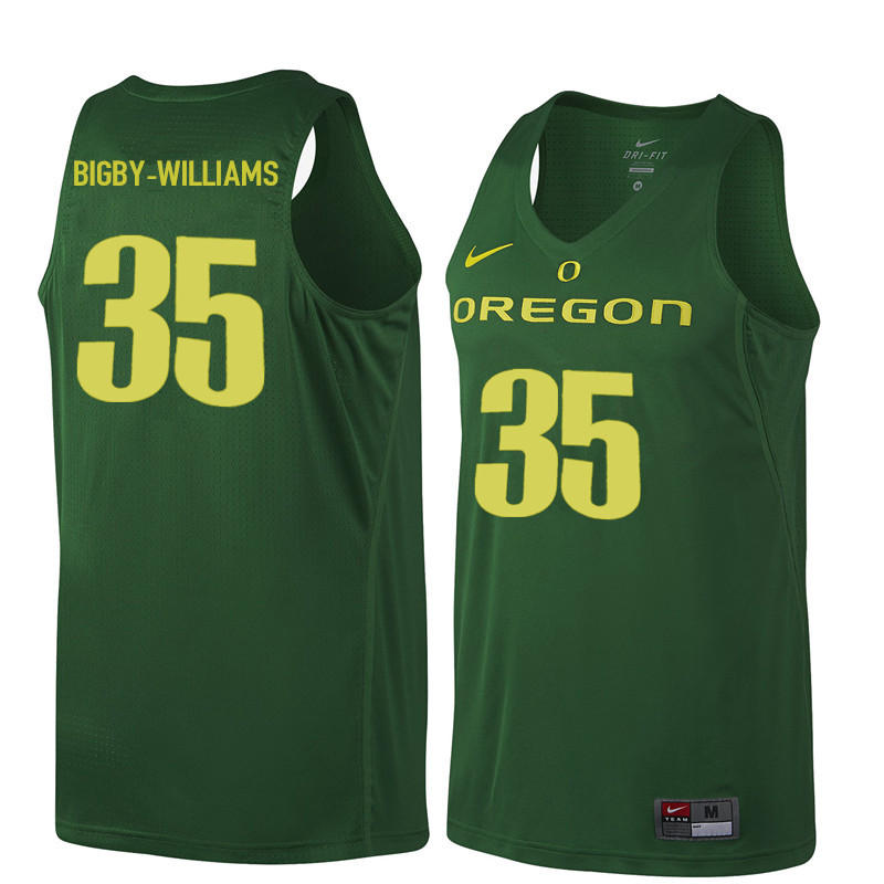 Men Oregon Ducks #35 Kavell Bigby-Williams College Basketball Jerseys Sale-Dark Green