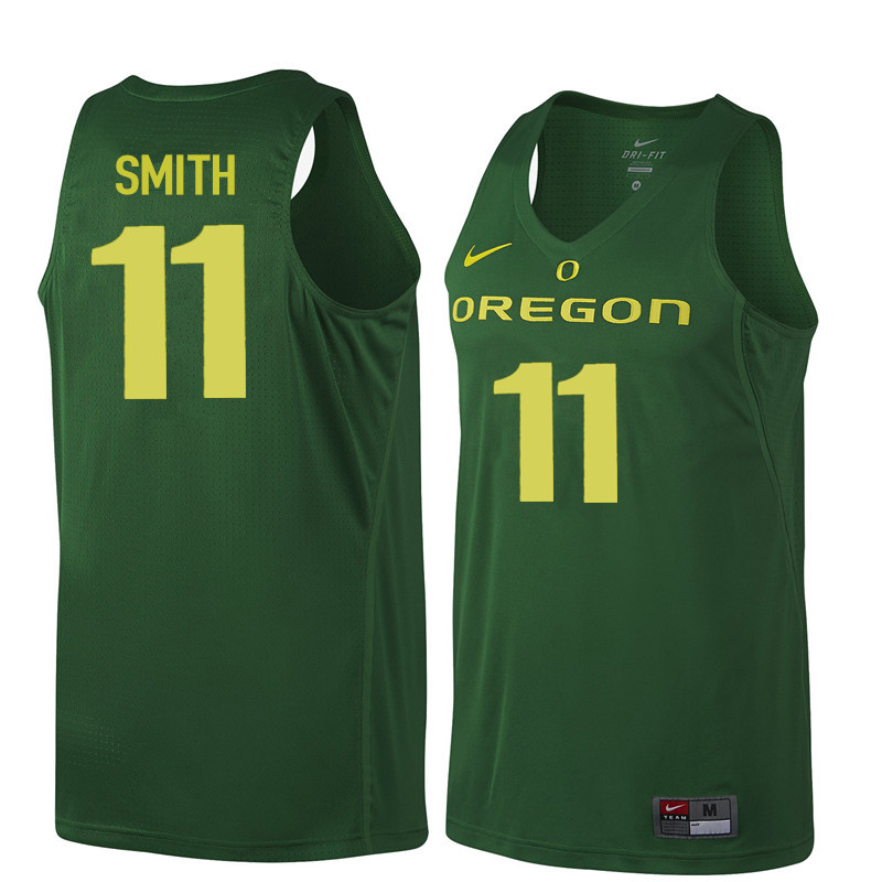 Men Oregon Ducks #11 Keith Smith College Basketball Jerseys Sale-Dark Green