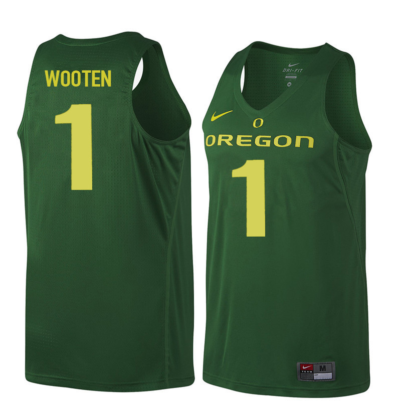 Men #1 Kenny Wooten Oregon Ducks College Basketball Jerseys Sale-Dark Green