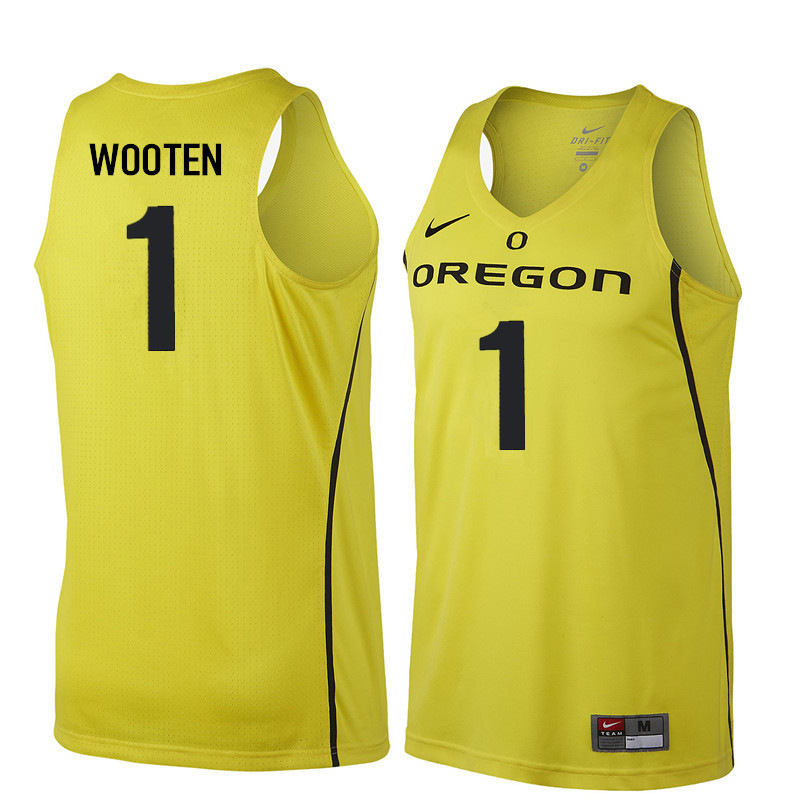 Men #1 Kenny Wooten Oregon Ducks College Basketball Jerseys Sale-Yellow