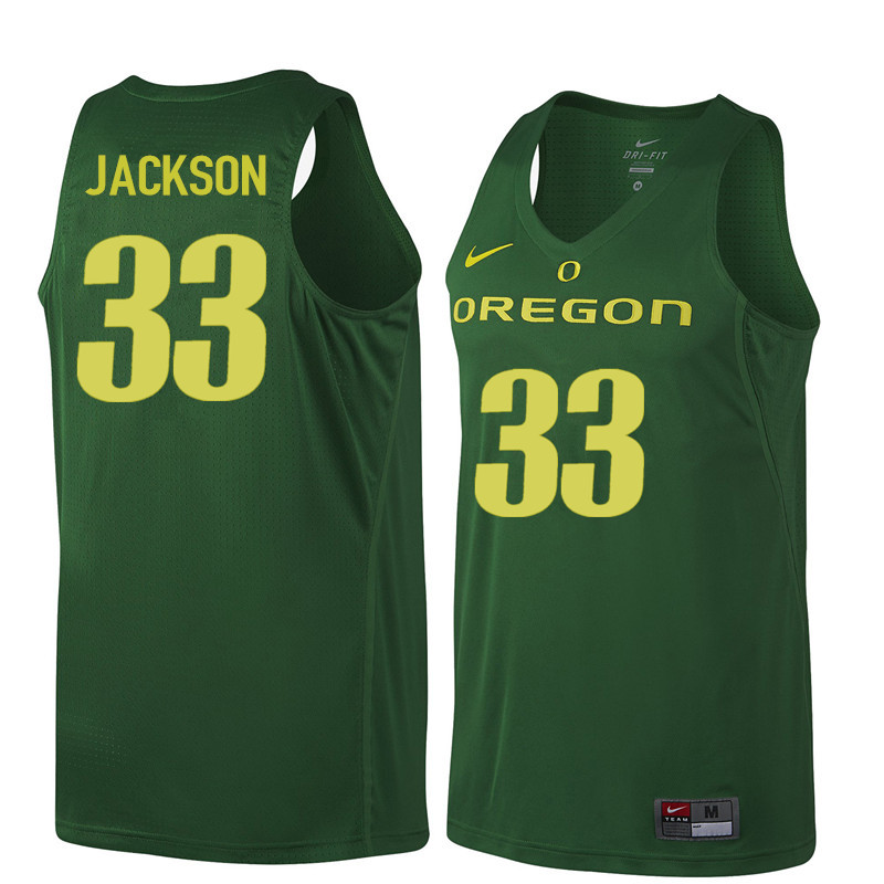Men Oregon Ducks #33 Luke Jackson College Basketball Jerseys Sale-Dark Green