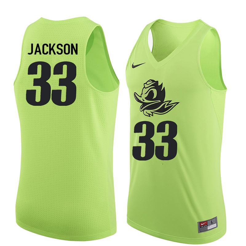 Men Oregon Ducks #33 Luke Jackson College Basketball Jerseys Sale-Electric Green