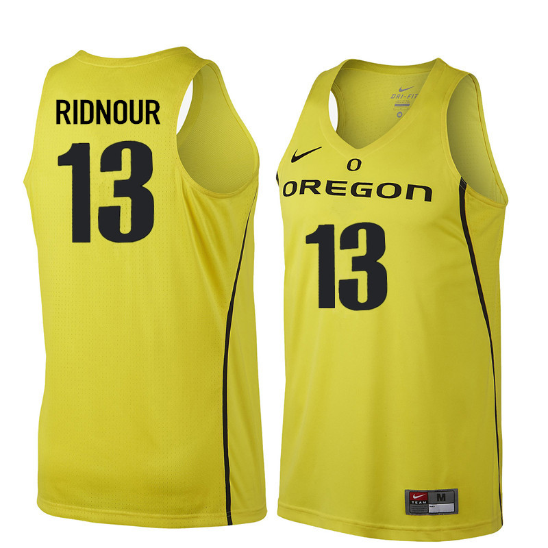 Men Oregon Ducks #13 Luke Ridnour College Basketball Jerseys Sale-Yellow