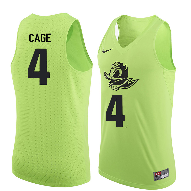 Men Oregon Ducks #4 M.J. Cage College Basketball Jerseys Sale-Electric Green