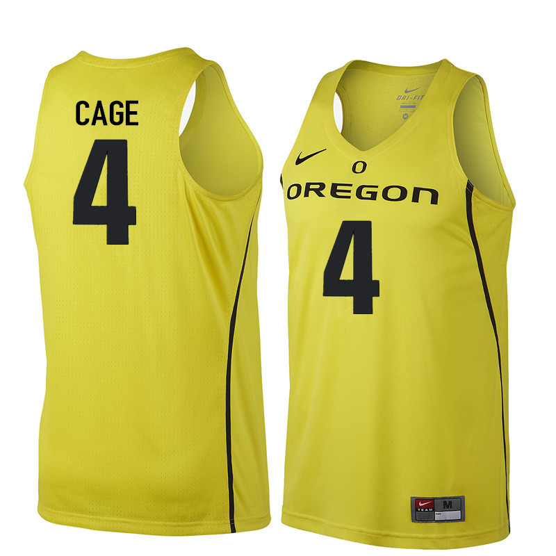 Men Oregon Ducks #4 M.J. Cage College Basketball Jerseys Sale-Yellow