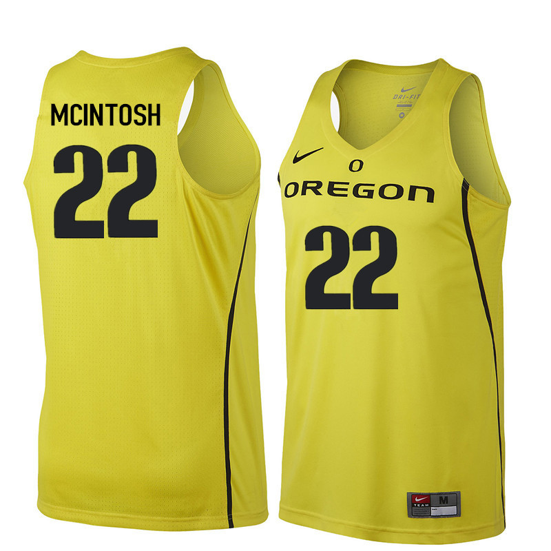 Men #22 Mikyle McIntosh Oregon Ducks College Basketball Jerseys Sale-Yellow