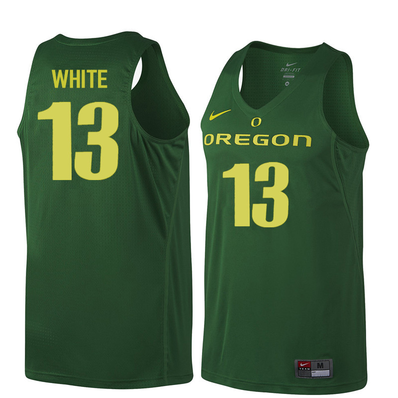 Men Oregon Ducks #13 Paul White College Basketball Jerseys Sale-Dark Green
