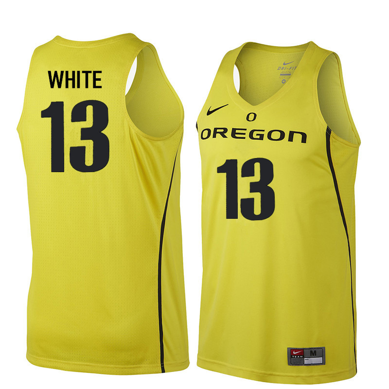 Men Oregon Ducks #13 Paul White College Basketball Jerseys Sale-Yellow