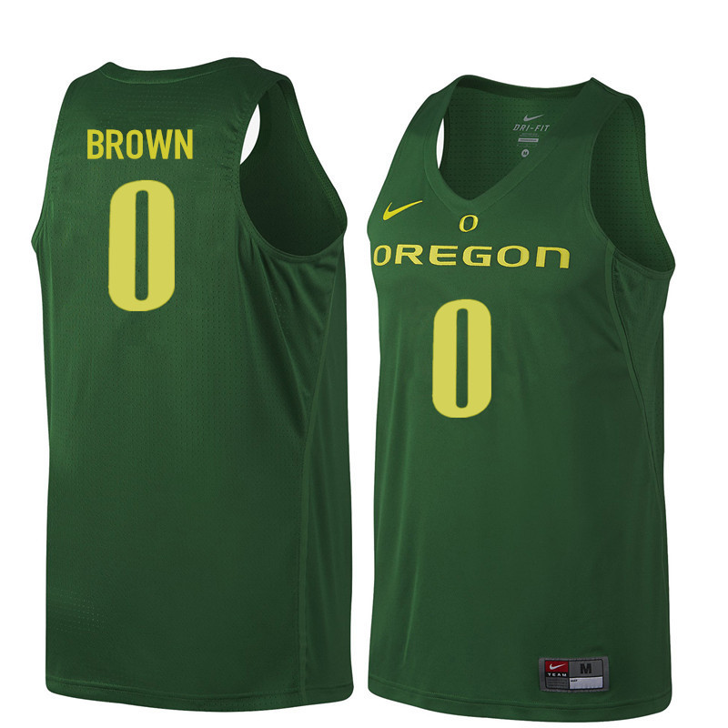 Men #0 Troy Brown Oregon Ducks College Basketball Jerseys Sale-Dark Green