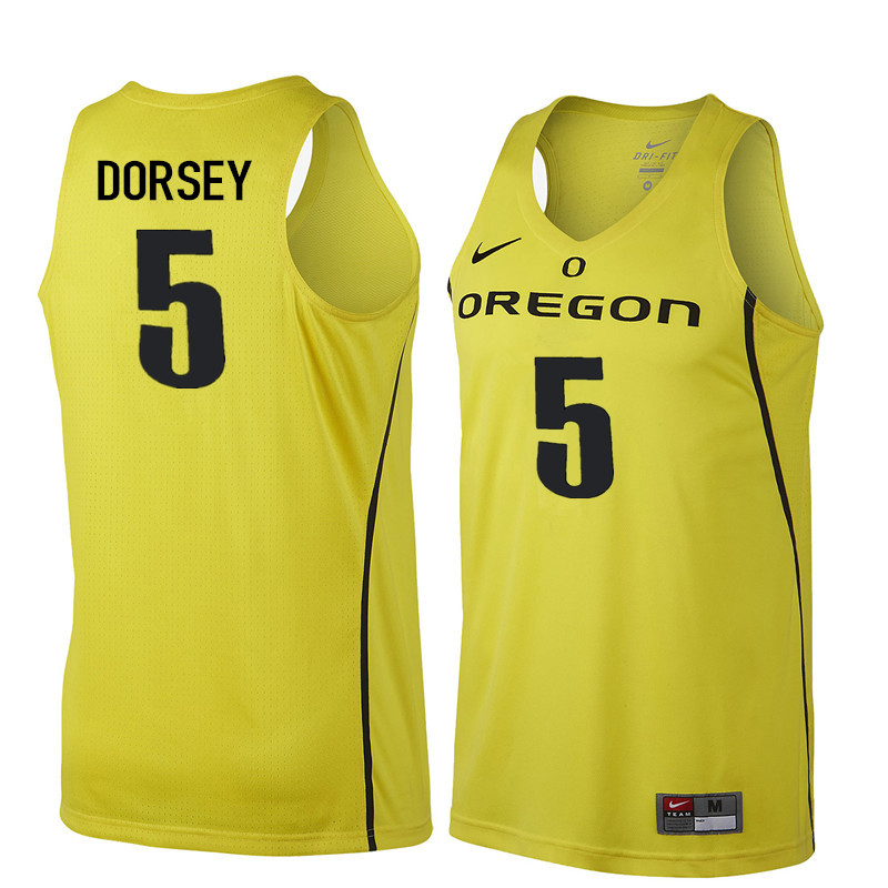 Men Oregon Ducks #5 Tyler Dorsey College Basketball Jerseys Sale-Yellow