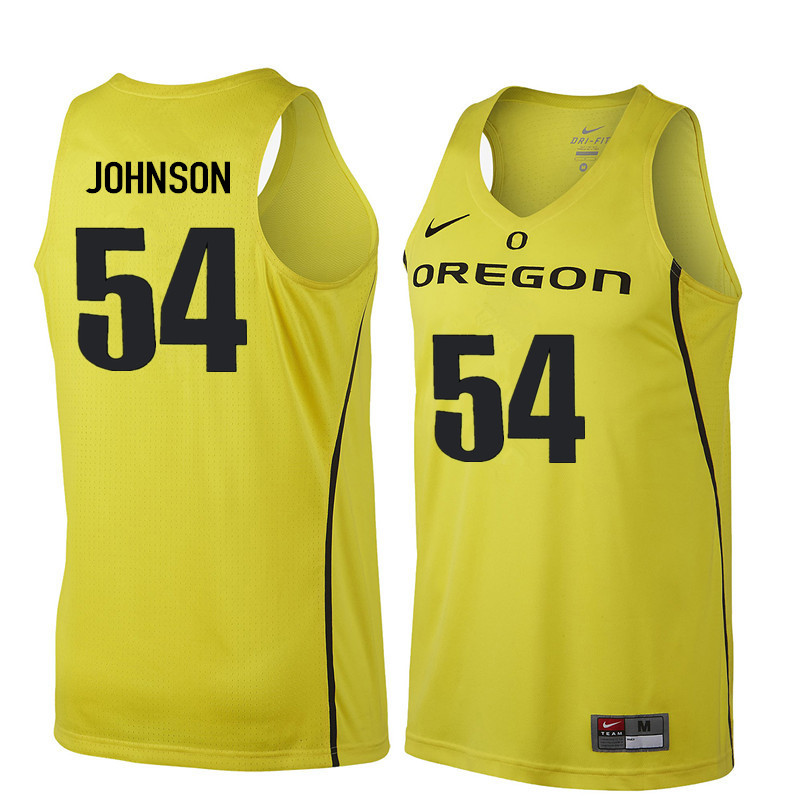 Men #54 Will Johnson Oregon Ducks College Basketball Jerseys Sale-Yellow