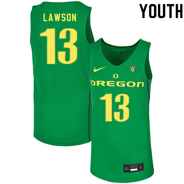 Youth #13 Chandler Lawson Oregon Ducks College Basketball Jerseys Sale-Green