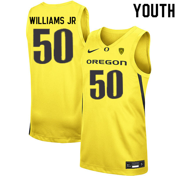 Youth #50 Eric Williams Jr. Oregon Ducks College Basketball Jerseys Sale-Yellow