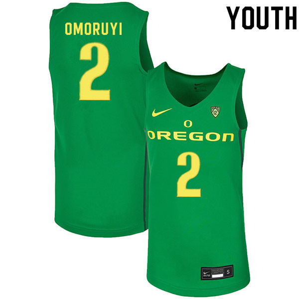Youth #2 Eugene Omoruyi Oregon Ducks College Basketball Jerseys Sale-Green