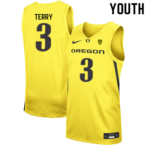 Youth #3 Jalen Terry Oregon Ducks College Basketball Jerseys Sale-Yellow