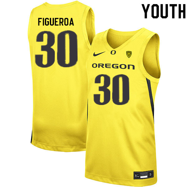 Youth #30 LJ Figueroa Oregon Ducks College Basketball Jerseys Sale-Yellow