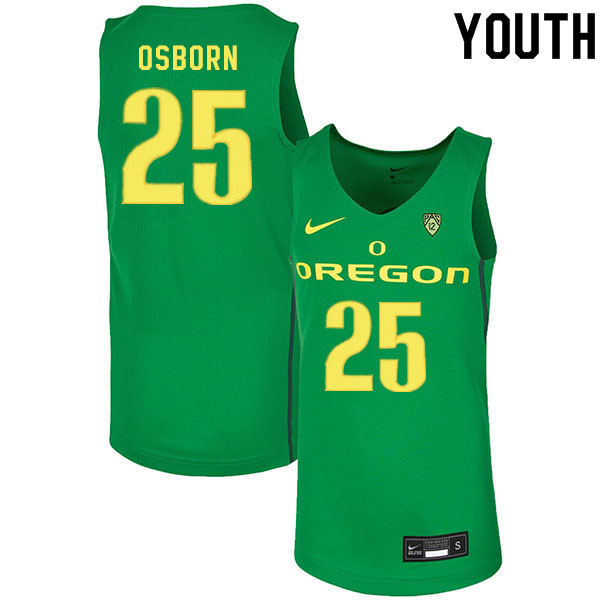 Youth #25 Luke Osborn Oregon Ducks College Basketball Jerseys Sale-Green